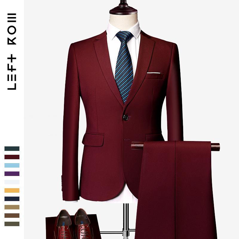 LeftROM 2019 Primavera New Mens Slim Fit estiramento Terminado Suits inferior Blazer Groom Groomsmen Suit 2 pcs (jacket + pants) CJ191128