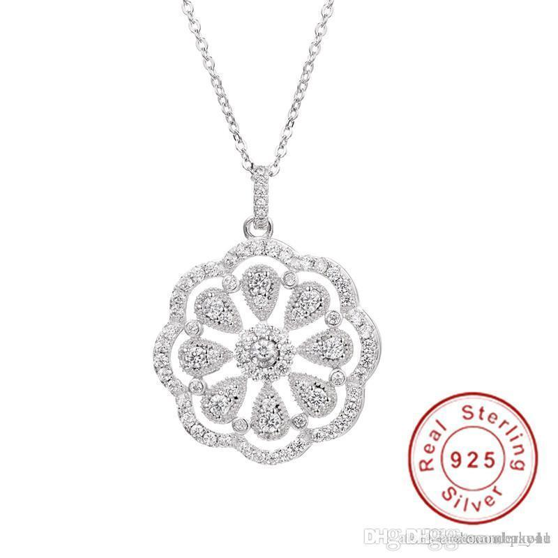 Pay4U Hot Sell 925 Sterling silver Flower Necklaces Pendants with High Quality Simulated Diamond For Women Birthday Gift Cocktail Jewelry