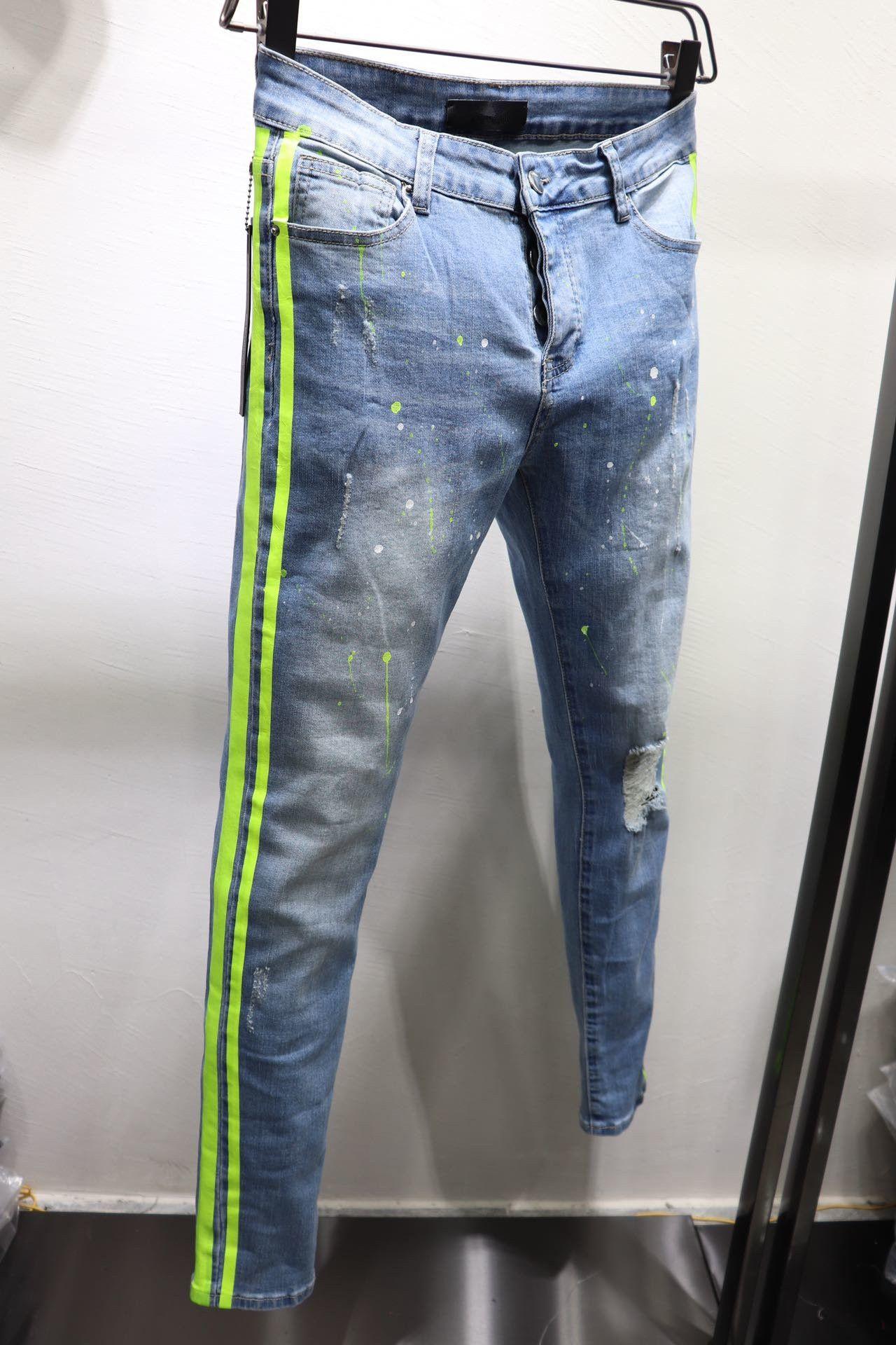 Nuovi arrivi Style Moda Solid diritti classici Fit motociclista Designer Mens Jeans banda rotti pantaloni Hole Stripes superiore US Taglia 29-40