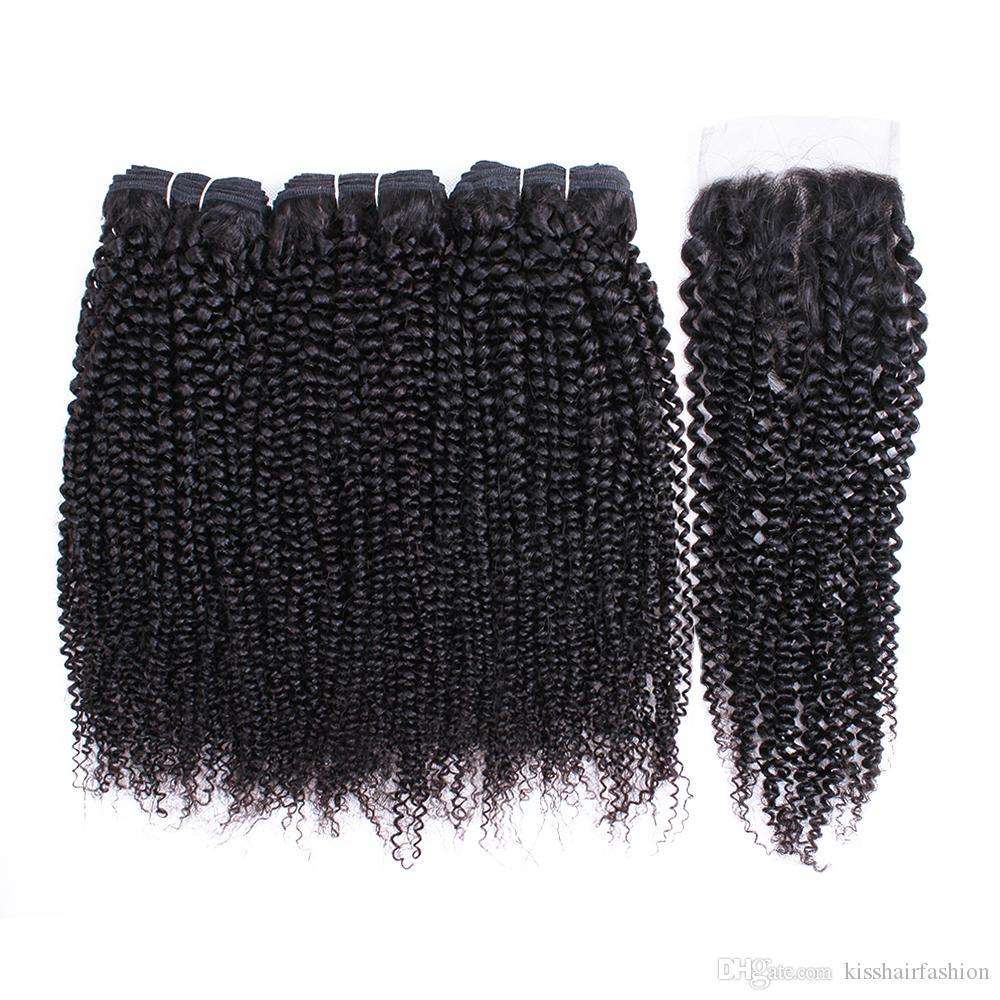 Kisshair 밍크 브라질 처녀 머리와 폐쇄 3 번들 브라질 바디 웨이브 머리를 가진 4 × 4 레이스 폐쇄 처리되지 않은 레미 인간의 머리 직물