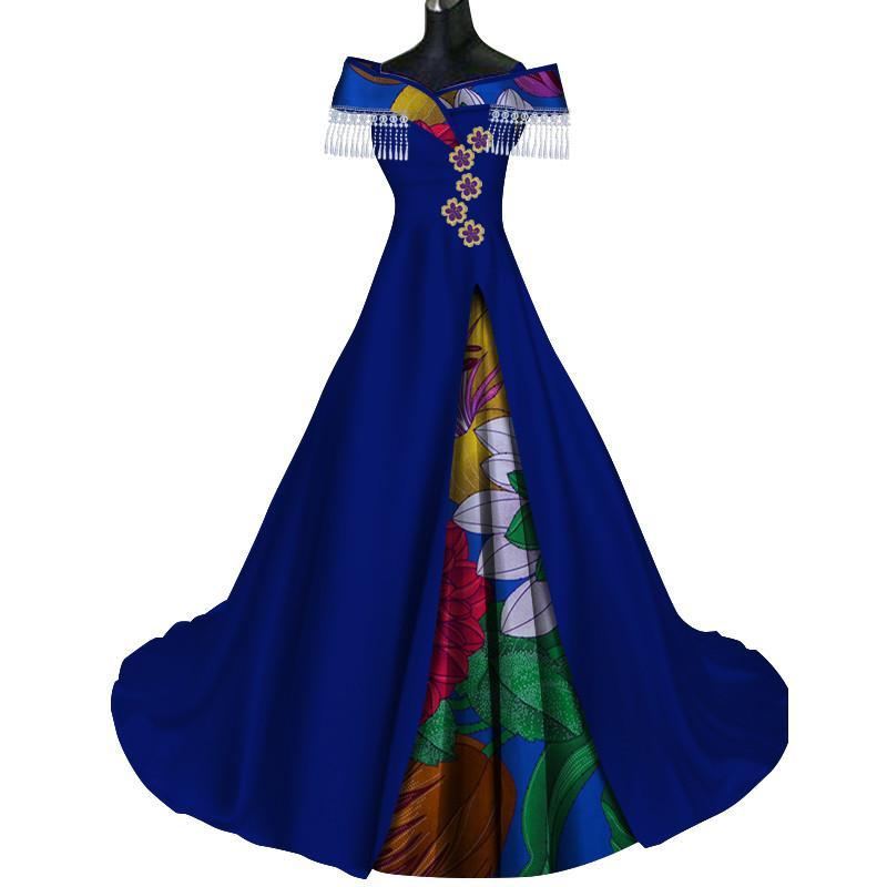 Moda Patchwork Longo Borla Applique Vestido Bazin Riche Africano Impressão Vestidos para As Mulheres Vestidos de Festa Africano Roupas WY372