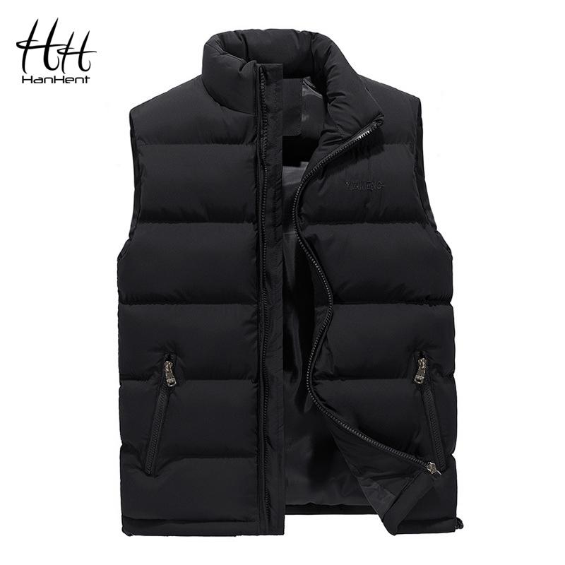 HanHent أزياء الرجال سترة سميكة سليم الدافئة في فصل الشتاء الرجال ملابس خارجية Bodywarmer 2018 الشارع الشهير أكمام معاطف وجاكيتات كبيرة الحجم