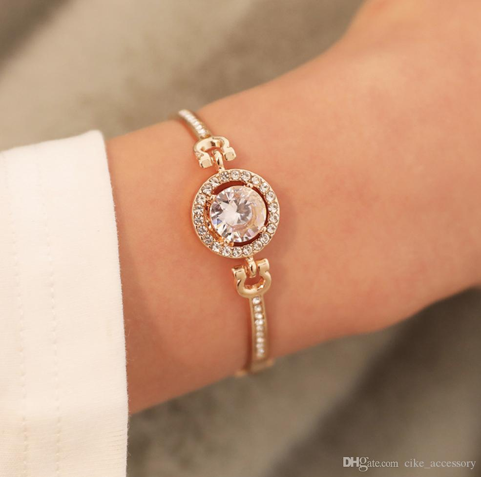 Charm Bracelet Imitation diamond setting Circle part zinc alloy diecast gold silver color plated metal chain connect women gift