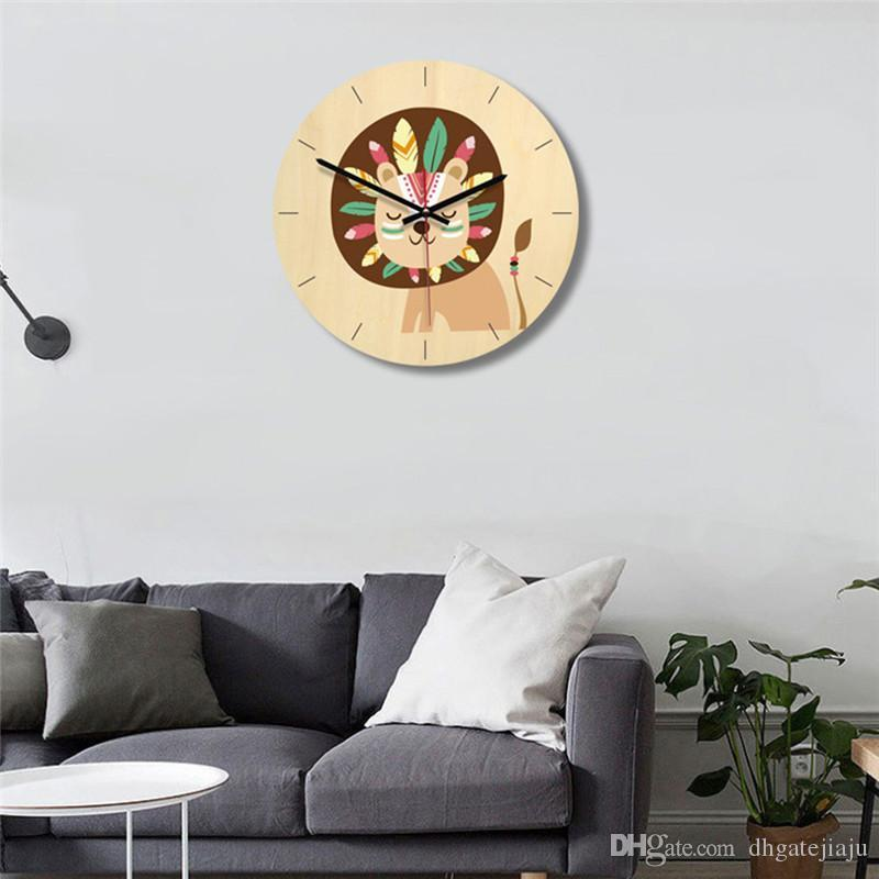 Stylish Cartoon Pet Series Wooden Wall Clock Home Decoration Gift ECO Friendly Wooden Wall Hanging Clock Free Shipping