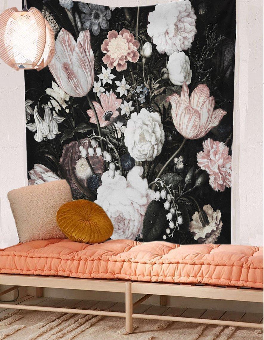 Cilected nueva venta Negro hermosas flores de colgar de la pared floral de la flor tela de la tapicería del papel pintado Decoración 148x200cm doble tamaño Y200324