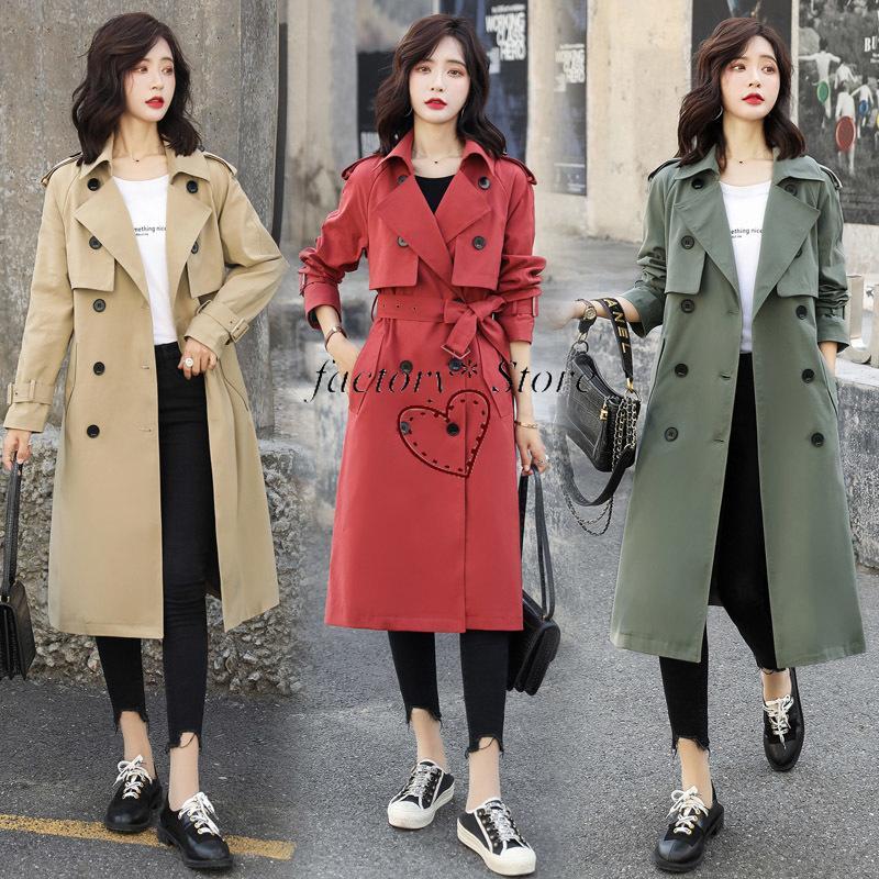 Пальто Корейская Ветровка Женщины Длинные Модные Прилив Лацкан Двубортный Темперамент Тонкий Похудения Куртка 2020 Весна Новый