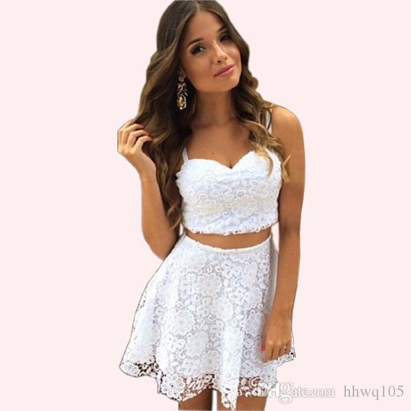 Women Sexy White Lace Dress Two-Piece Outfit Lace Crochet Crop Top A-line Mini Skirt Girls Evening Party Prom Dresses ZSJF0452