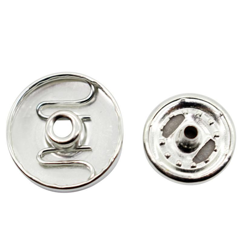 50/100 Sets Aluminum 18mm Snap Buttons Fit Bracelets Silver Tone dd