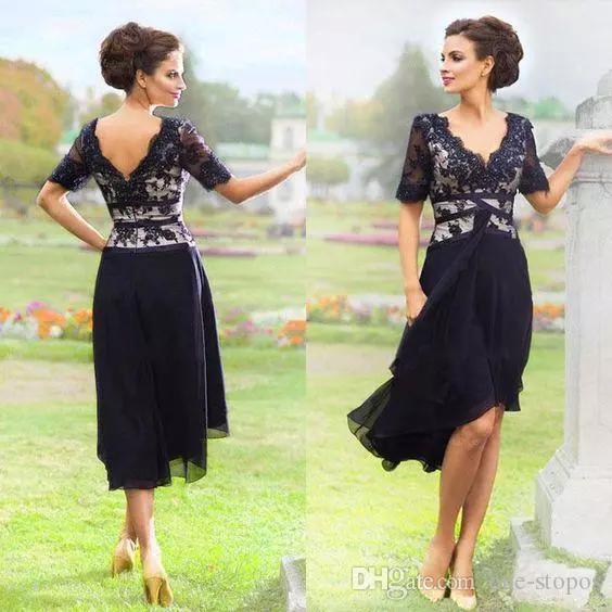 Nova Chegada Marinho Azul 2019 Elegante Country Mãe dos vestidos de noiva com meia mangas v pescoço de noite vestidos de noite