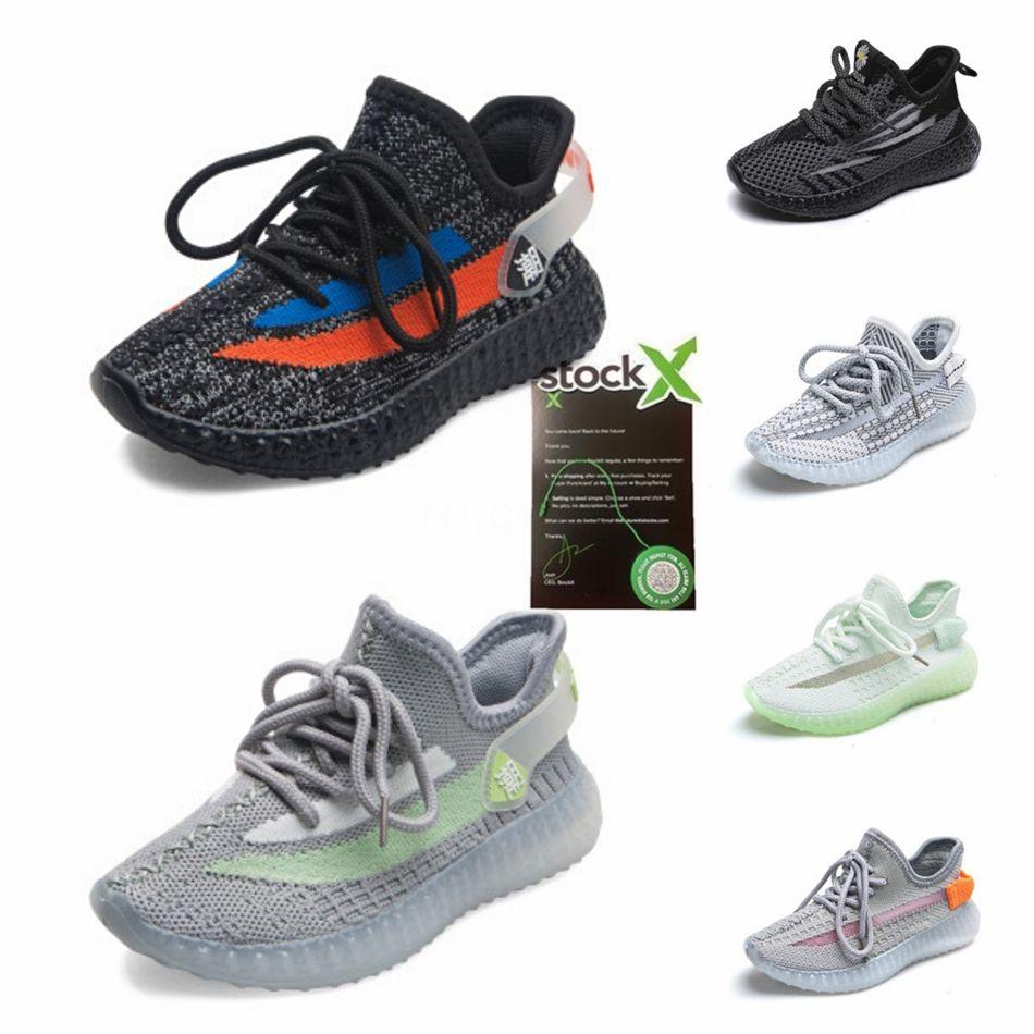 2020 New Kids V2 3M Reflective Statico scarpe da corsa di Kanye West Moda Sport Atletica scarpe da tennis Taglia 27-35 # 421