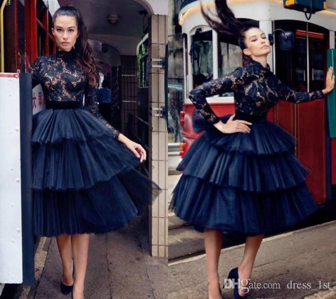 Güz 2019 Moda Yüksek Yaka Uzun Kollu Katmanlı Etek Lacivert Dantel ve Tül Kısa Mezuniyet Elbiseleri
