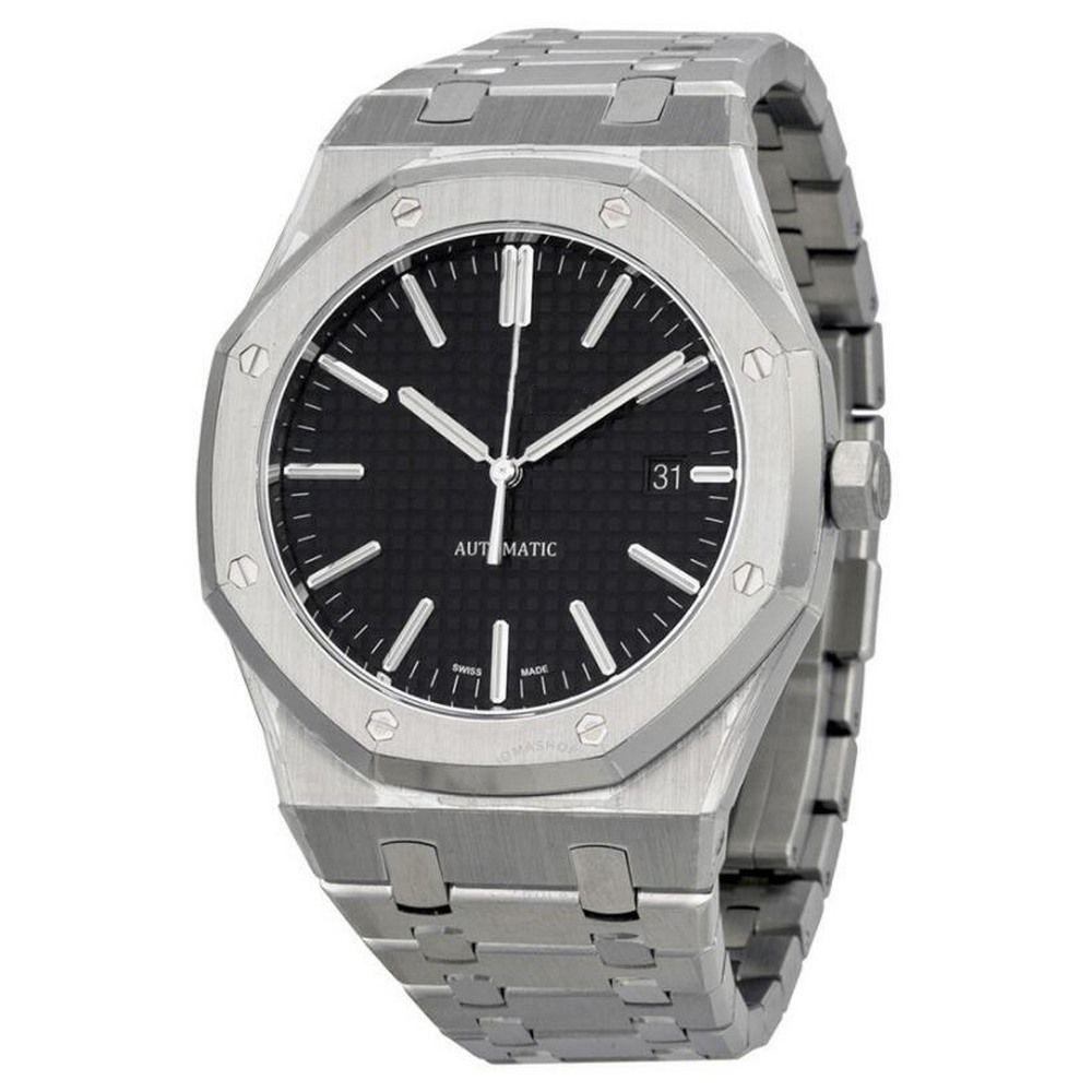 3 broches horloge royale hommes de montres de luxe en chêne 41mm arrière ouverte machines balayage automatique mouvement en acier inoxydable sans montres batterie 3004