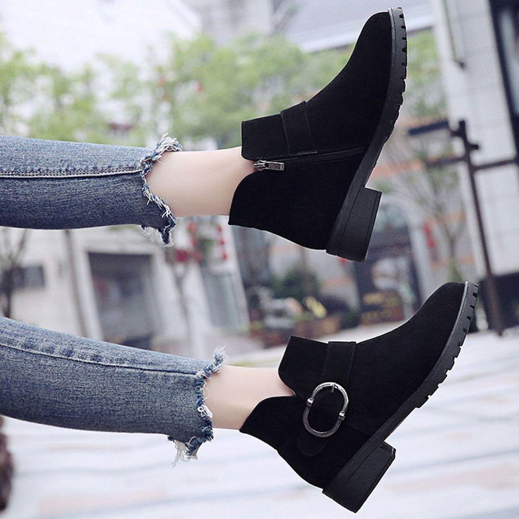 Осень Зима Boots Женщины 2019 Комфортная Мода Flat Boots Круглый Toe Элегантные черные туфли Женщины Botas Mujer Invierno 2019