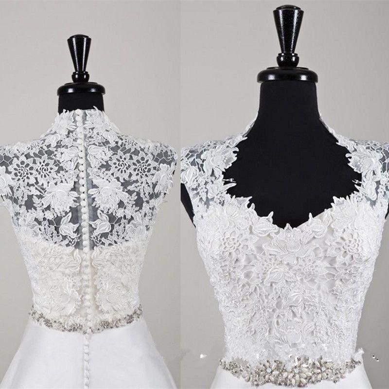New Handmade High Neck Short Sleeve Buttons Lace Appliques Wedding Bridal Bolero Jacket Shawl White Ivory Custom Made Jackets