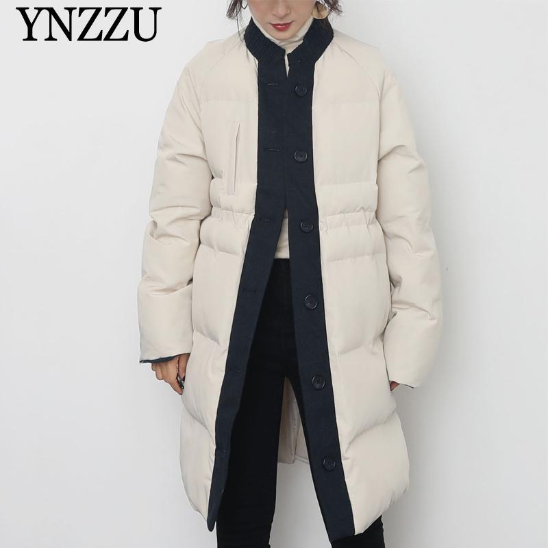 Mode féminine hiver parkas chaud épais Patchwork lâche Femme Outwear Boutons élégant long manteau Casual 2020 New YNZZU 9O148