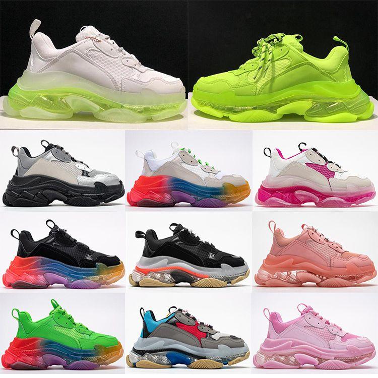 Moda de Nova Itália Triple S Calçados Limpar bolha Midsole Homens Mulheres Green Black White Triple-S Sneakers Casual Aumentar couro Dad Shoes