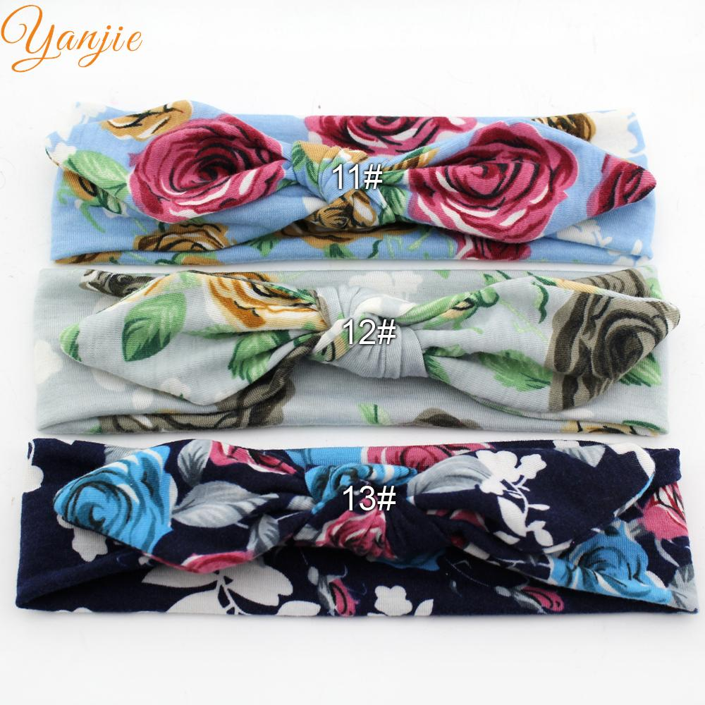 10pcs/lot 2020 Rabbit Ear Floral Cotton Headband Wholesale Trendy Bunny Soft Solid Elastic Kids Girl DIY Hair Accessories Mujer