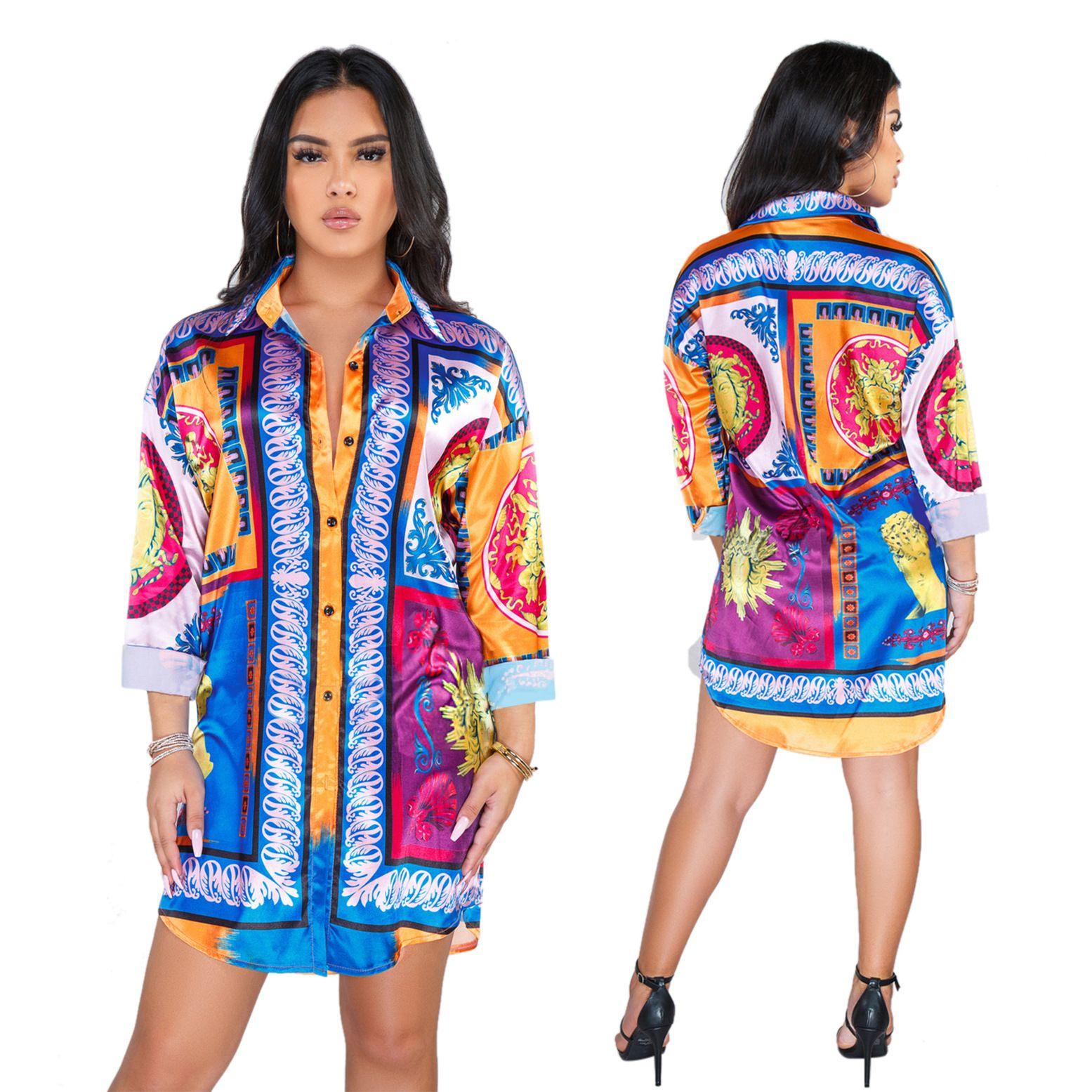 HISIMPLE 2019 Lâche Femmes Africaines New Vintage Imprimer Tournez Le Cou À Manches Longues Mini Robe Chemise Casual Robes Vestidos Casual Outfit S-2XL