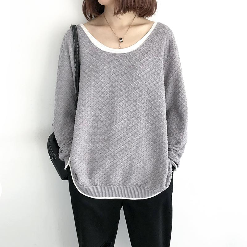 Women Sweater Spring 2020 New Loose Fake Two Big Size Long Sleeve Knit Pullovers Thin Fashion Casual Women Tops