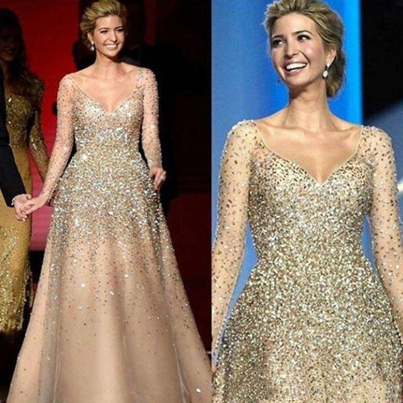 Champagne de luxe Perles Crystal Sequins Robes De Pal à manches longues A-Line V coufe de robe de soirée à col V Voyant si de longues robes de soirée arabe