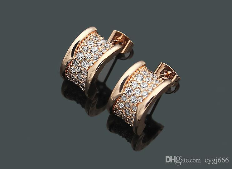 Europe and the United States full diamond small waist earrings B rose gold tide people starry titanium steel earrings