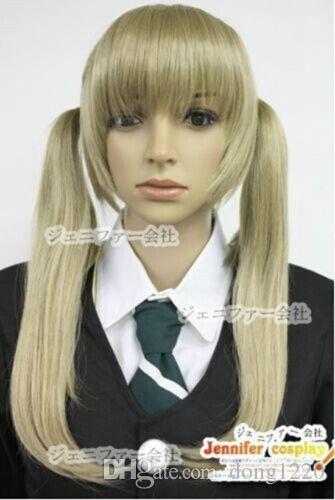 Soul Eater Maka Albarn 코스프레 가발 의상 Golden double ponytail