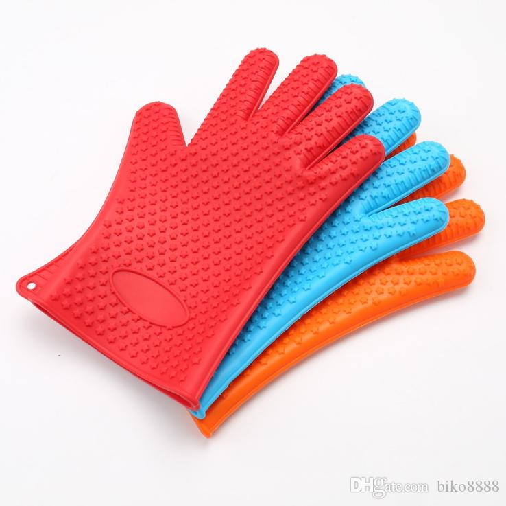 Handschuh Hitzebeständig Kochen Backen Grillen Silikon Ofen Topflappen