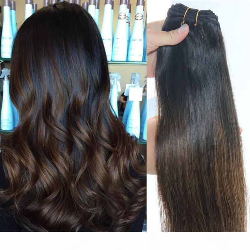 Capelli all'ingrosso prodotti dei capelli umani Weave Bundles brasiliani del Virgin di estensioni dei capelli Balayage Ombre Brown Two Tone 1B # 4