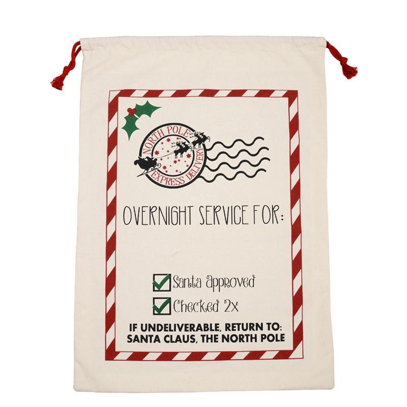 Weihnachten Draw Tasche Beuter Sankt Sack Tasche Jute-Geschenk-Beutel Drawstring Leinwand Weihnachtsstrumpf-Ren-Geschenk-Speicher bei 25