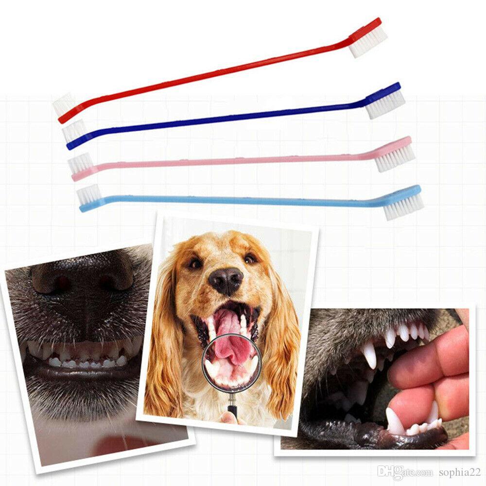 Hot vente Chien Chat dents doigt Brosse de soins dentaires pour nettoyage Pet Brosse à dents Brosses à dents en plastique bouche Chat Brosses
