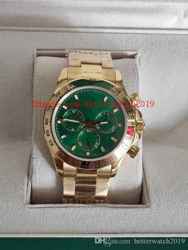 Nouvelle montre de luxe de la meilleure qualité Plis Facotry Cosmograph 116508 40mm 18K Gold Eta 7750 Mouvement Chronographe Travail automatique Mécanique automatique