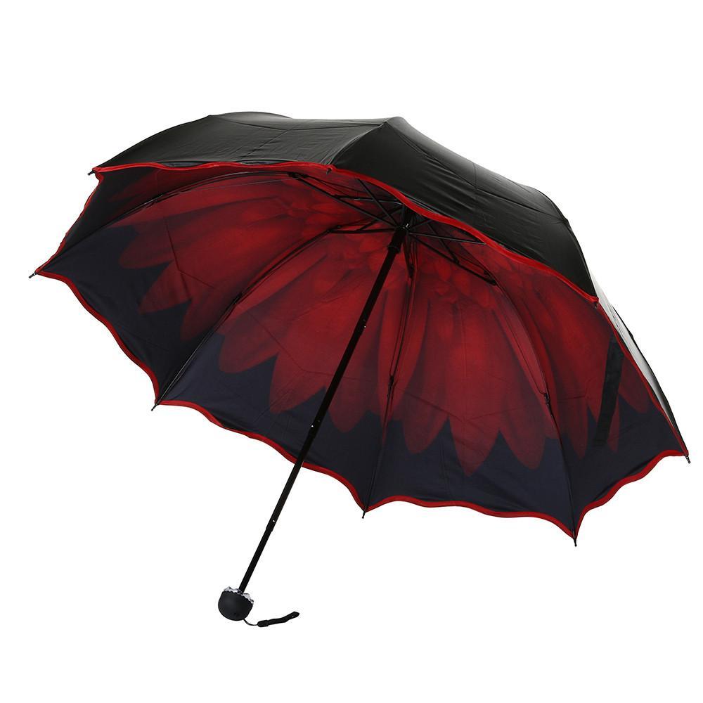 Üç Katlanır Şemsiye Seyahat Şemsiye Katlama Yağmur Windproof Çift Anti-UV Güneş / Yağmur Çiçek Şemsiye Kadınlar 2018 Moda
