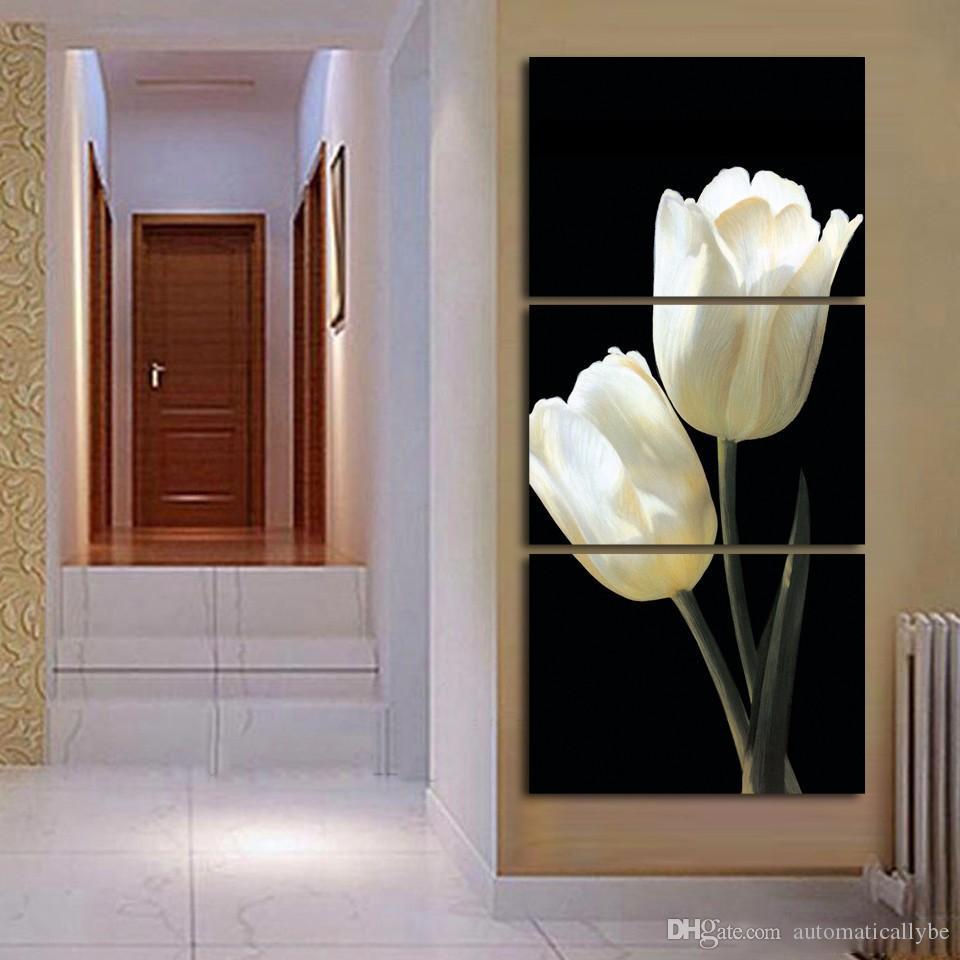 Satin Al 3 Adet Beyaz Lale Cicek Resim Posterler Ve Baskilar Ev