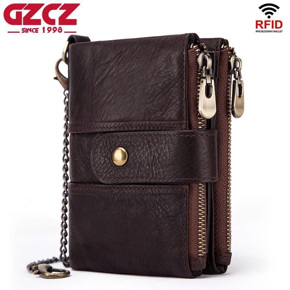 Gzcz Hot Brand Portafoglio uomo in vera pelle Rfid Portafogli Mini portamonete Breve maschio Frizione Walet Mens Piccolo sacchetto dei soldi di alta qualità Y190701