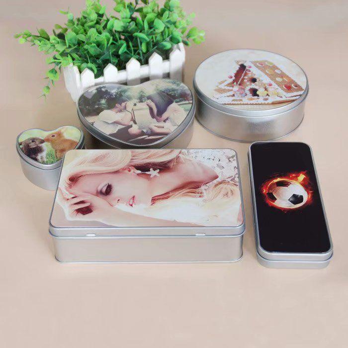 Sublimation Blank Blank FAI DA TE Metal Storage Box Tin Silver Box Scatola Caso Organizzatore per soldi Coin Candy Key Box
