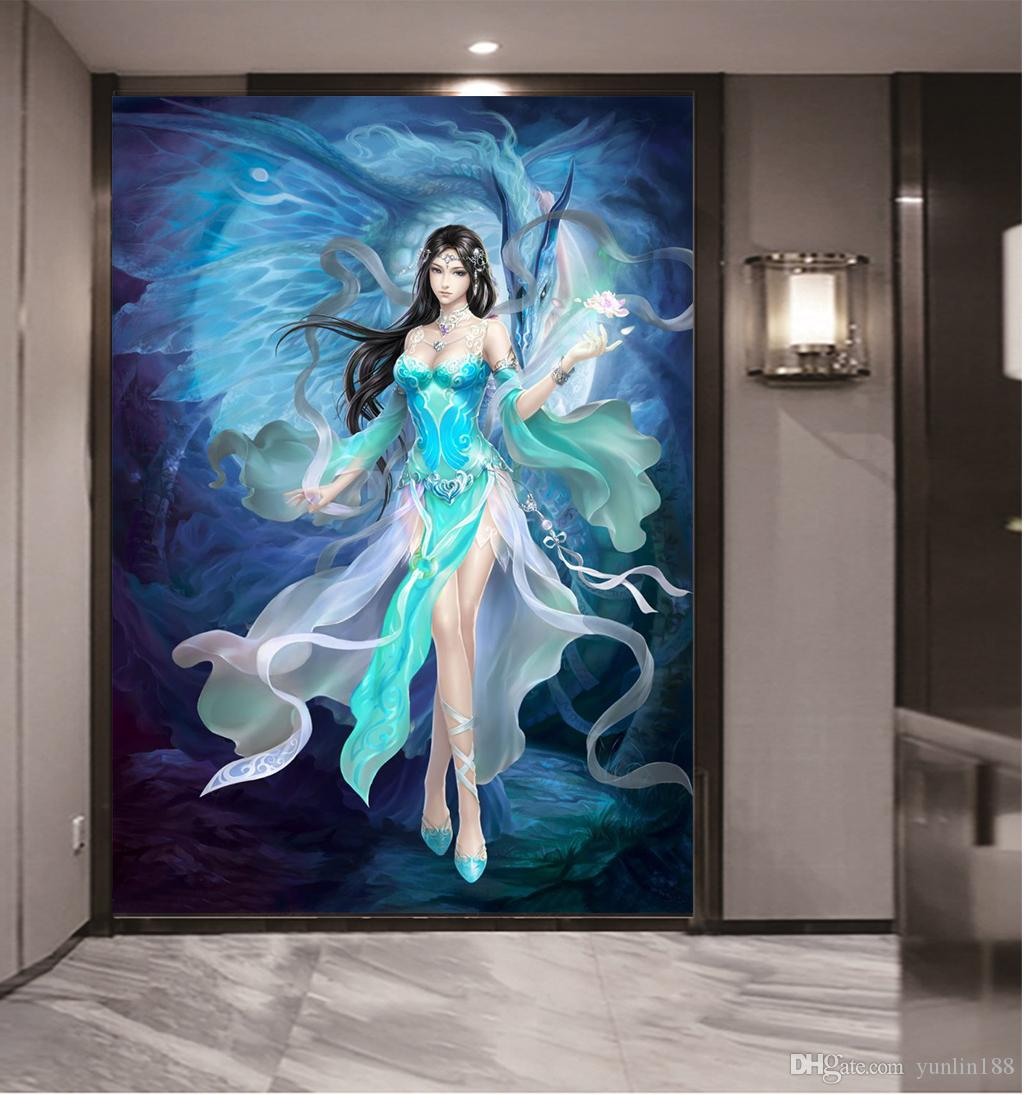 Custom any size 3d wallpaper game anime beautiful girl cartoon character indoor porch background wall decoration mural wallpaper cartoon wallpapers