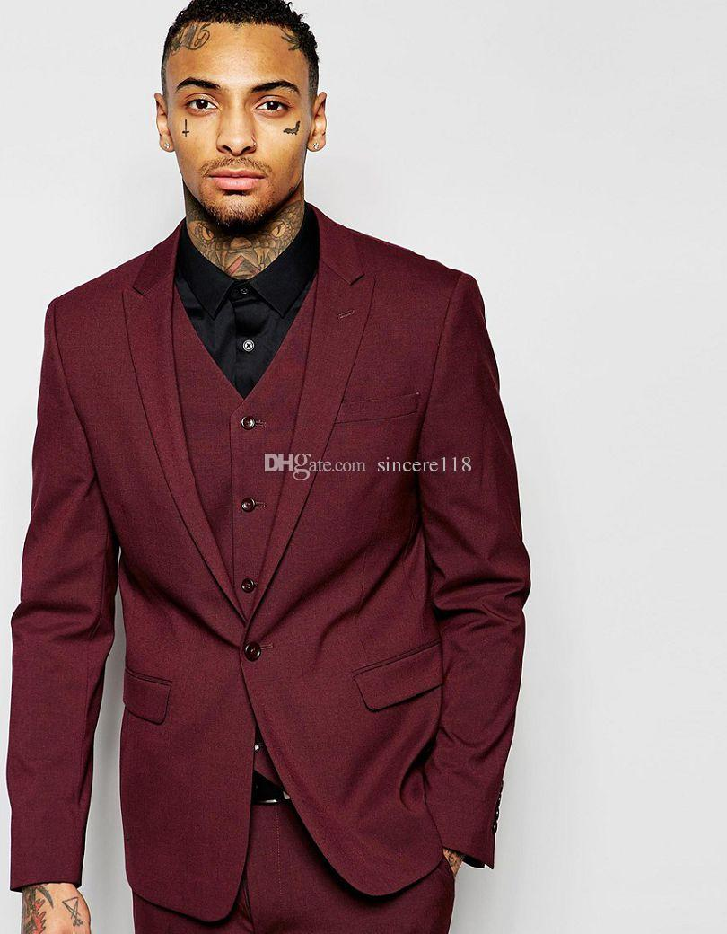 Hot Sell Slim Fits Groom Tuxedos Peak Lapel Mens Coat Prom Blazers Business Suits (Jacket+Pants+Vest+Tie) W:024