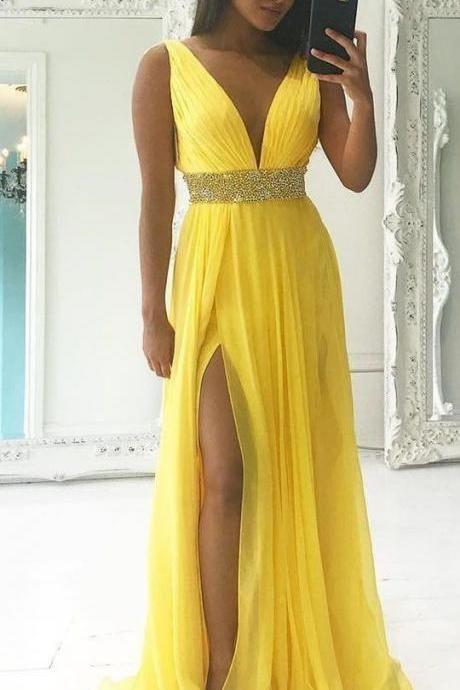 Moderno Amarelo V Pescoço Vestidos de Baile Com Alta Fendas A Linha Até O Chão Chiffon Frisada Sash Longo Vestido de Festa À Noite 2019 Ocasião Especial