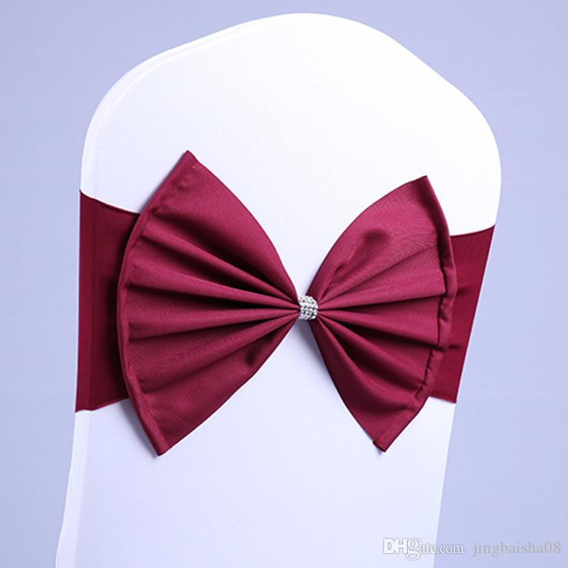 50Pcs Borgogna sedia colore fascia sedia SatinSash spandex di lycra bow tie bene per tutti albergo banchetto decorazione della festa di nozze sedie