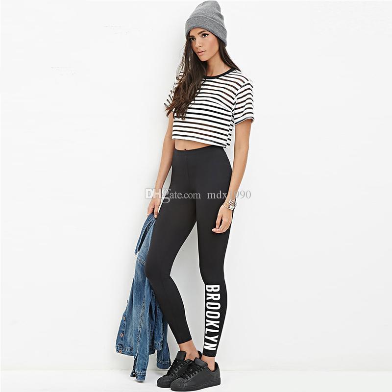 Style européen et américain Femmes Noir Leggings sport Casual Tendance De La Mode Haute Qualité Vente Chaude Femmes Pantalons