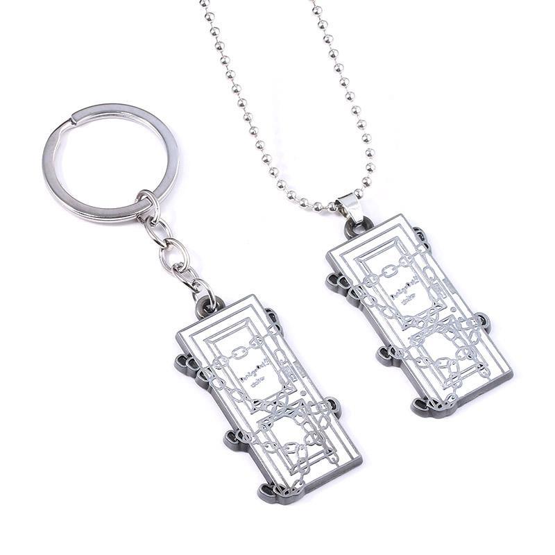 Colline jeu silencieux 2 Keychain carré Porte-clés pour les femmes hommes Porte-clés Pendentif porte-clés Bijoux cadeau