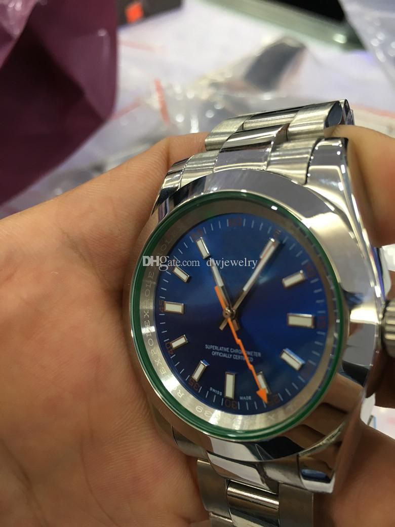 Com Original Box Hot venda relógios de luxo Relógio de pulso 40MM 116400 Dial Black Men Automatic vidro pulseira de aço inoxidável Watch Relógios