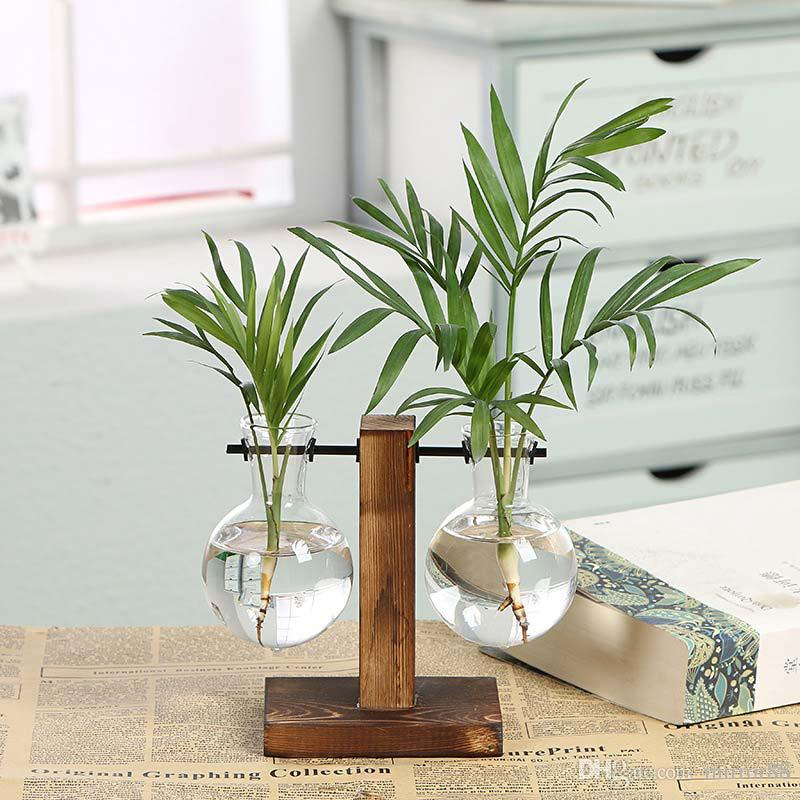 Bonsai Hydroponic Glass Flower Vintage Tableop Pot Decor Decor Vaso Telaio in legno Casa Terrario Pianta piante Vasi Trasparente Wohek