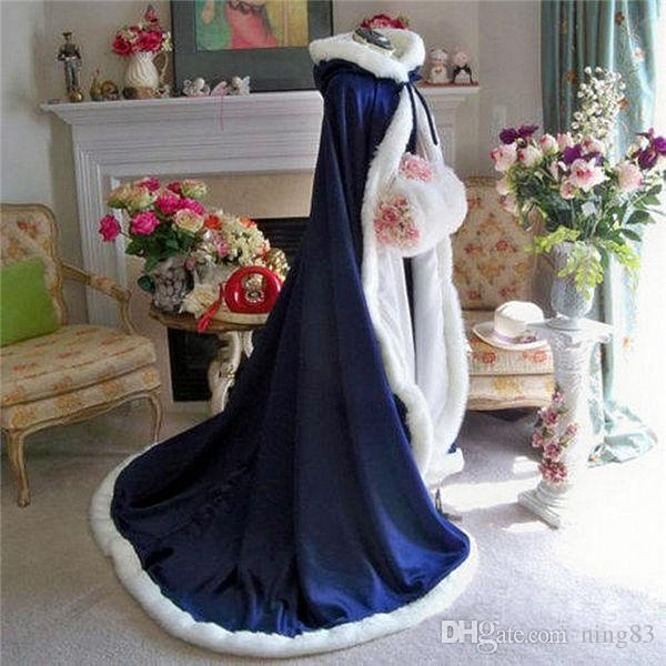 2020 Donne con cappuccio Satin Faux Fur Trim Winter Wedding Long Mantello Scialle del mantello
