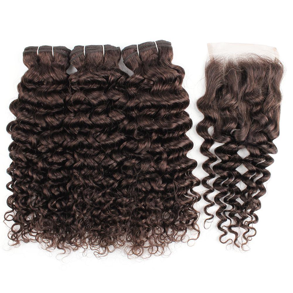 Kisshair más oscuro # 2 manojos marrón pelo de la onda de agua con cierre vírgenes indias tramas del pelo humano con cierre de 4 * 4 de encaje