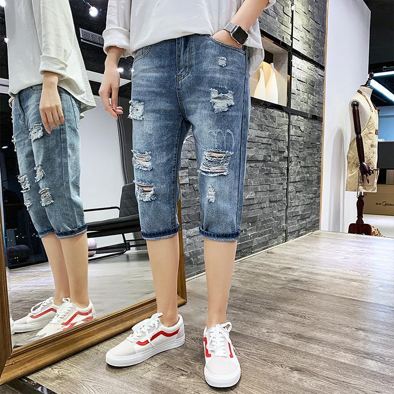 Short en jean rétro pour hommes d'été 2019, chat occasionnel doit casser les trous du pantalon à sept points