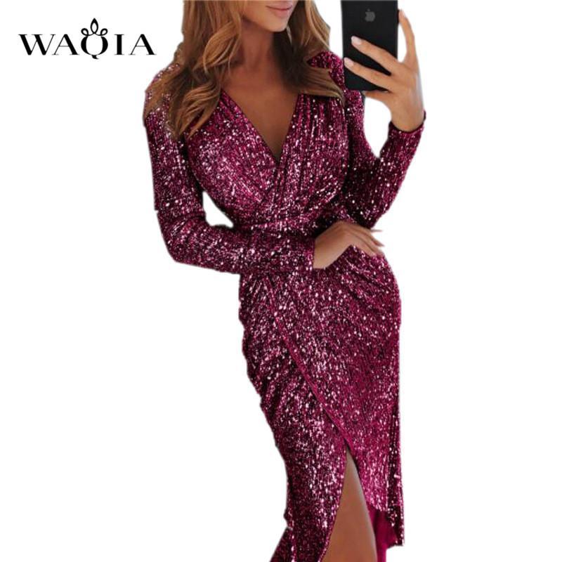 8 цветов плюс СИЗ 3XL Сексуальная блесток Bodycon платье партии женщин блеск платье V-образным вырезом высокая щель с длинным рукавом Midi туника Vestidos