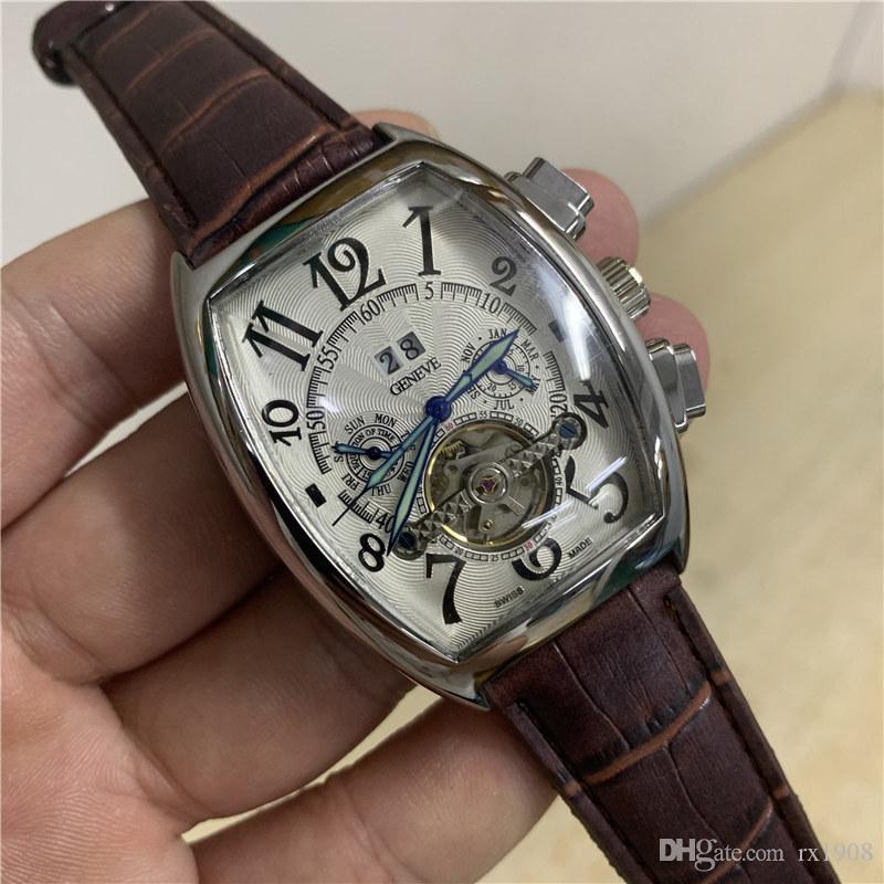 Mens Automatic Assista Brown Couro Barril Forma Tourbillon Relógio Mecânico Grande Calendário Duplo Digital Display moda Relógio de luxo