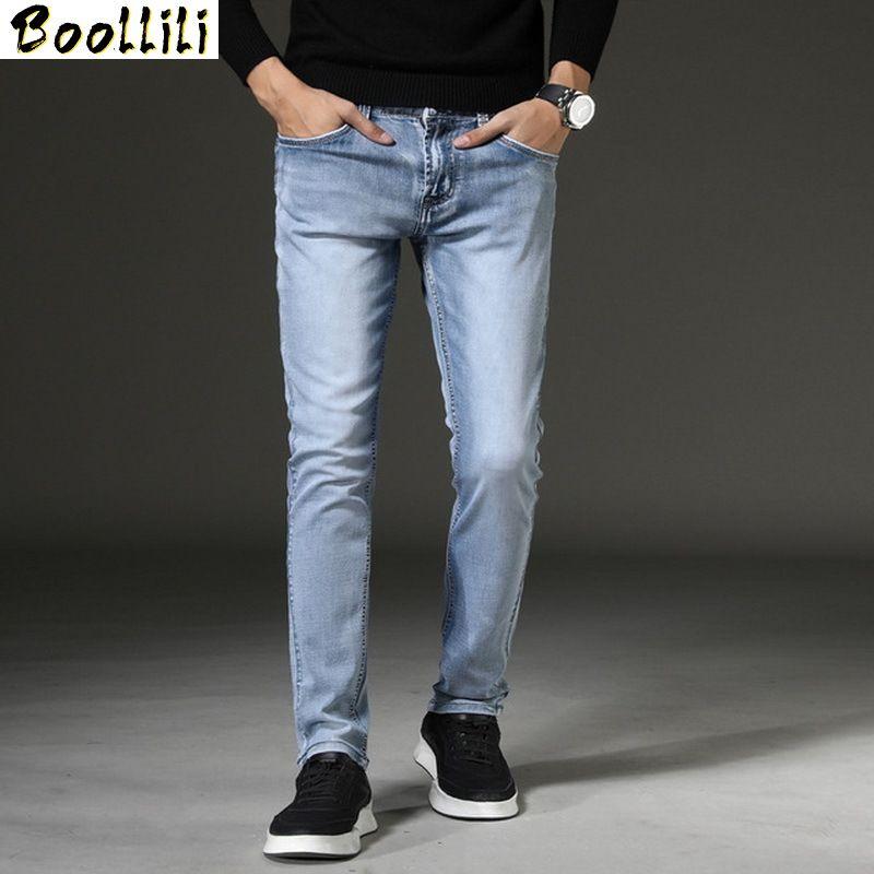 Uomini Elastico Denim Skinny Jeans 2020 Primavera Autunno Marca Classico Di Alta Qualità Dei Jeans Di Modo Luce Blu Grigio Scuro