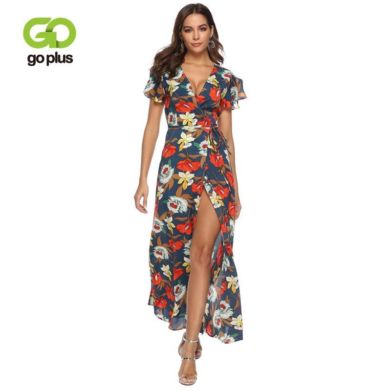 Оптовая продажа Цветочный принт Сексуальное шифоновое платье на шнуровке с V-образным вырезом для женщин Макси платья Лето Сплит Пляж Длинные платья Boho Vestidos C7112